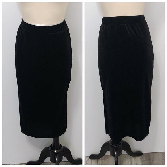 Halogen Dresses & Skirts - Halogen Black Velvet Pencil Skirt with Side Slit